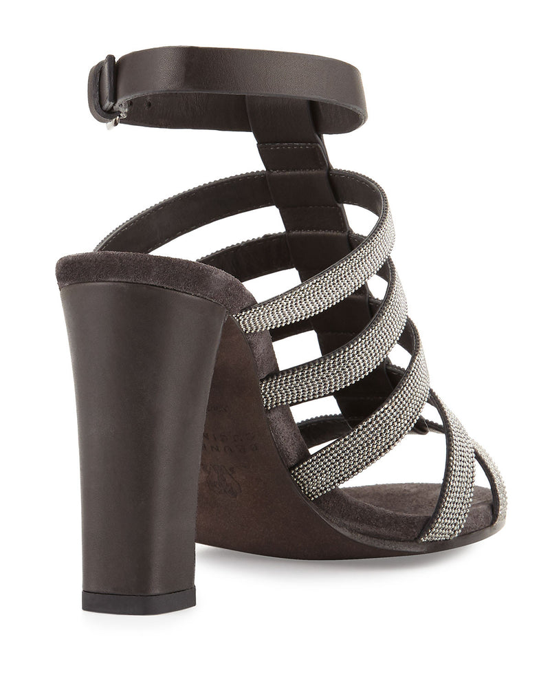 Monili Caged High-Heel Sandal, Onyx