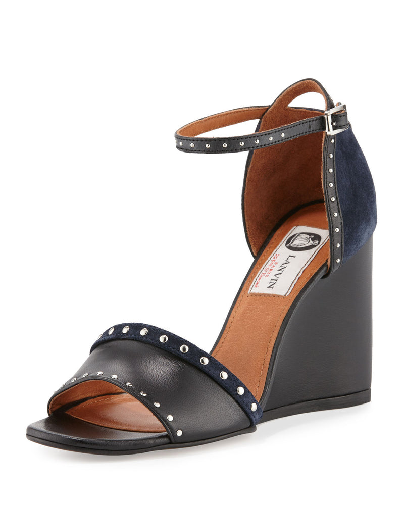 Studded Leather/Suede Wedge Sandal, Black