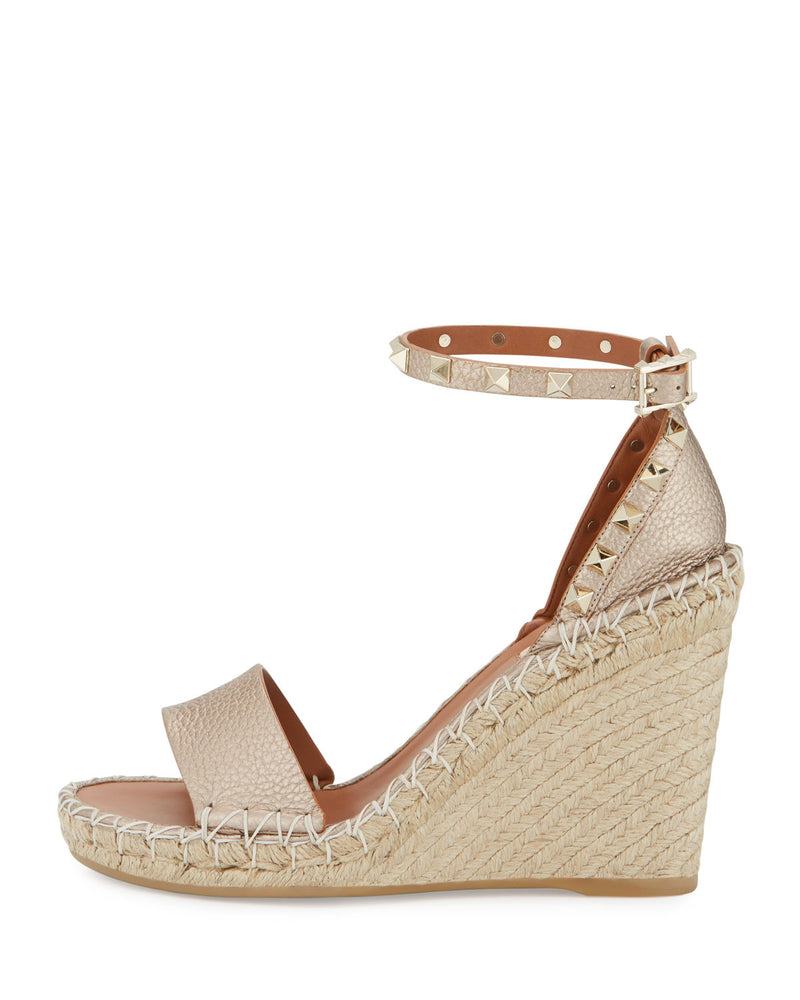 Rockstud Metallic Ankle-Wrap Wedge Sandal, Skin Metallic