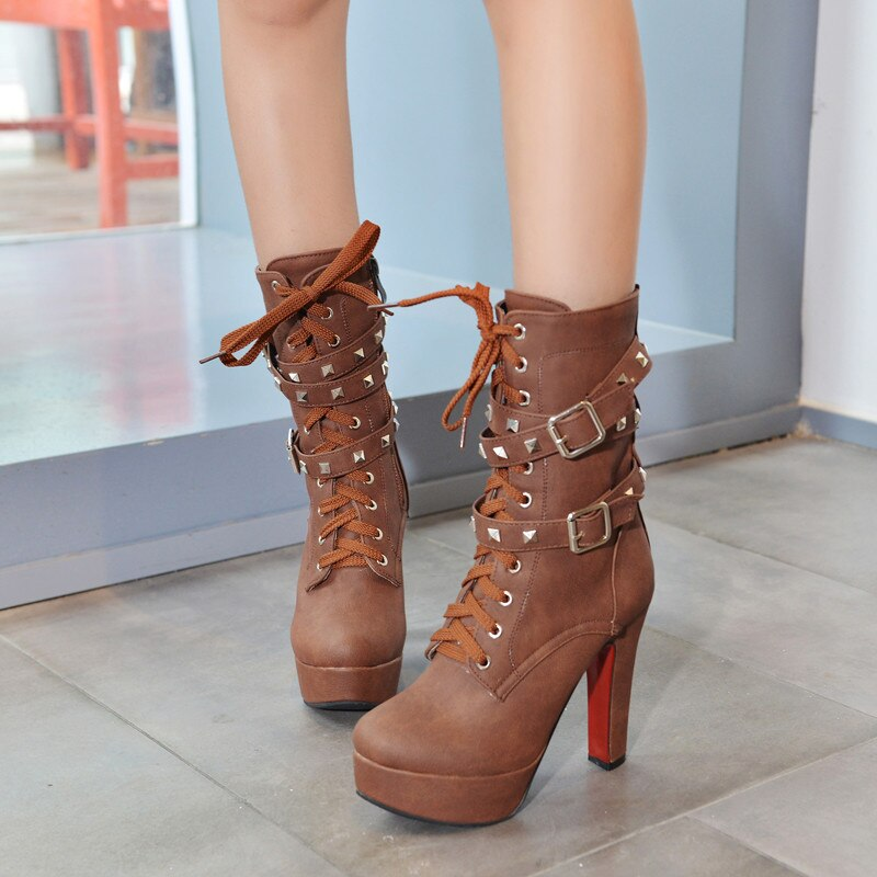 Sexy Extreme High Heels Black Women Platform Motorcycle Ankle Boots Lace Up Rivets Punk Boots Buckle Straps Ladies