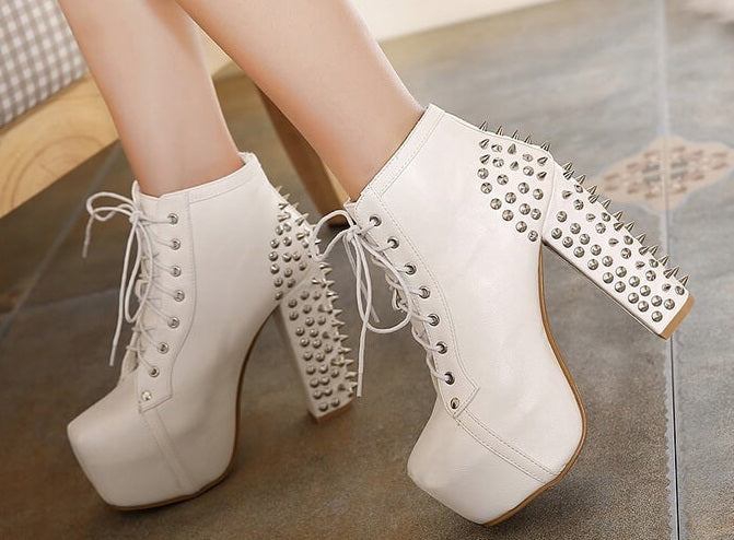 The Biker Look, Super Cool White Boots!! All Sizes