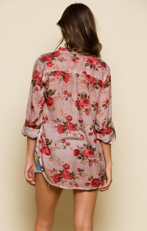 BLOOMING LOVE HENLEY BLOUSE