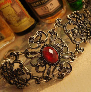 Vintage Look Cool Flower Red Stone Stylish Girl ladies Fashion Bracelet