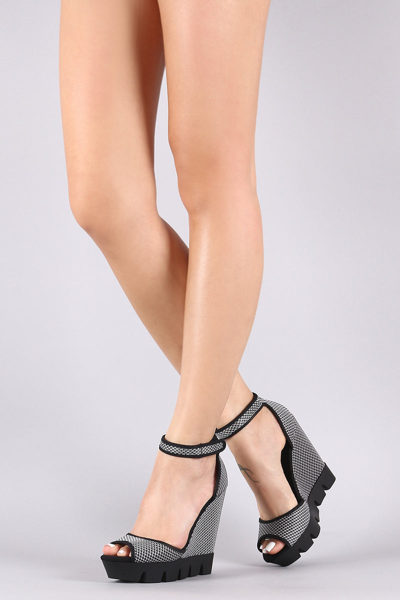 Bamboo Mesh Lug Sole Platform Wedge