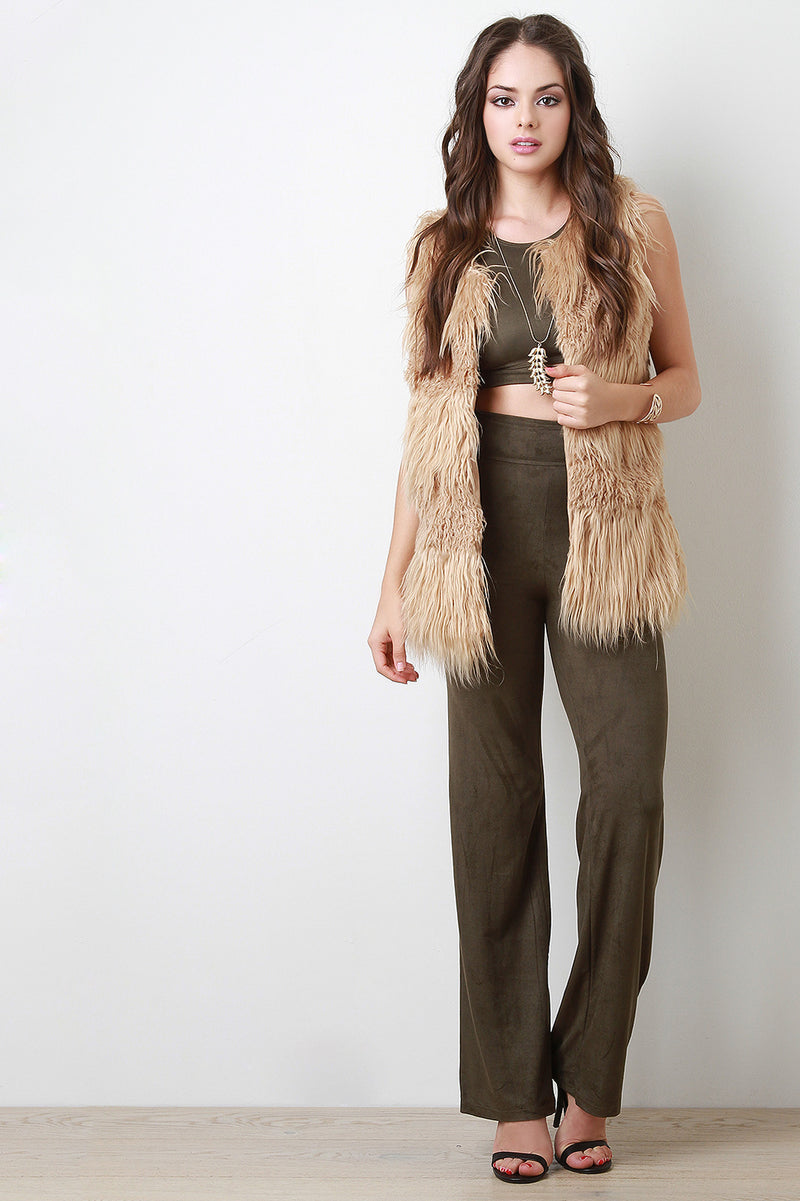 Double Texture Faux Fur Vest