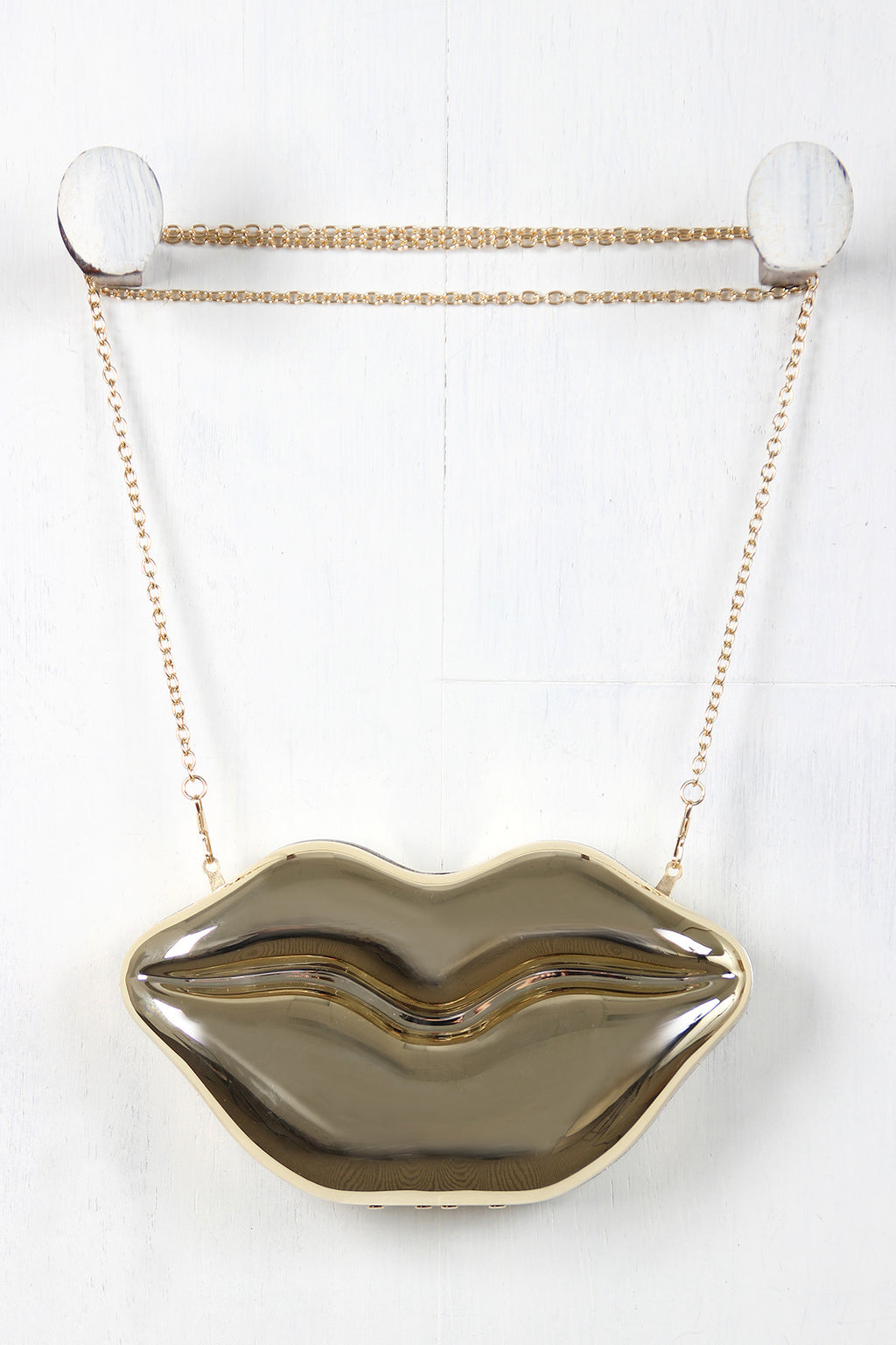 Metallic Lips Clutch Bag