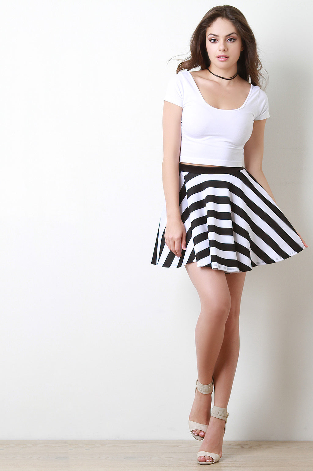 Black and White Striped Skater Skirt