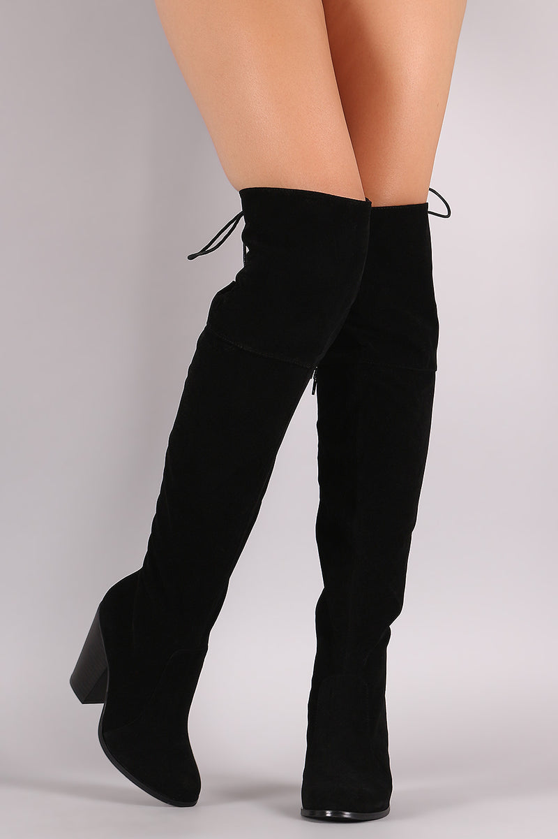 Suede Back Lace-Up Chunky Heeled Over-The-Knee Boots