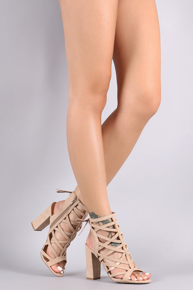 Wild Diva Lounge Suede Caged Back Lace-Up Chunky Heel