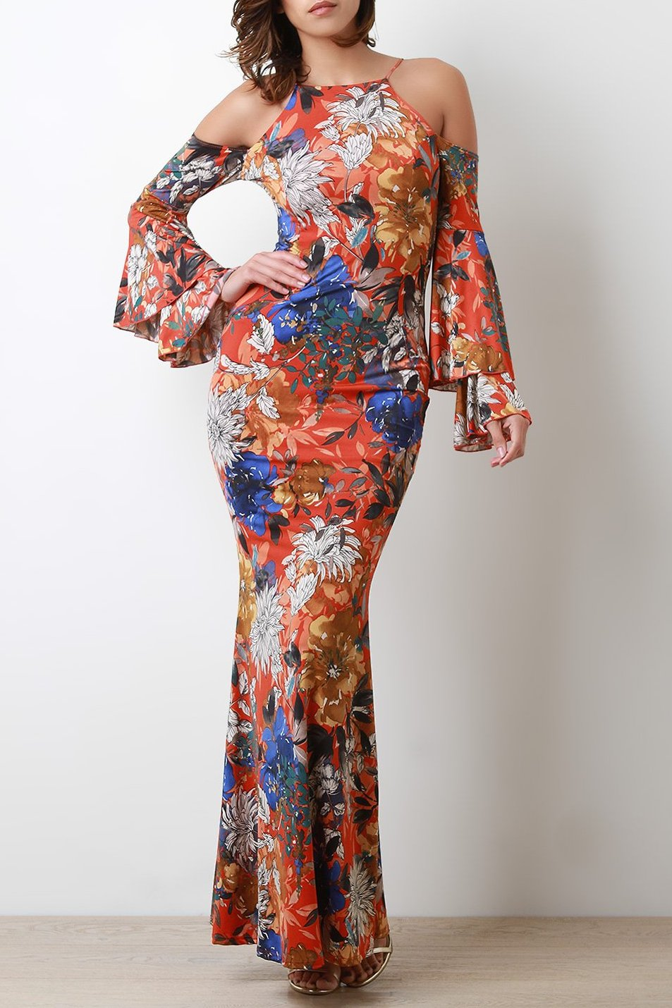Bold Print Statement Sleeve Cold Shoulder Maxi Dress.