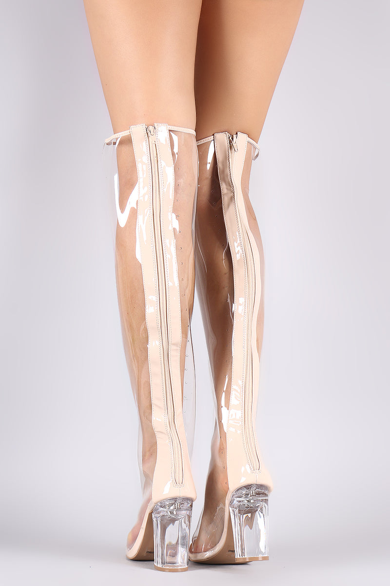 Qupid Peep Toe Chunky Clear Heeled Over-The-Knee Boots