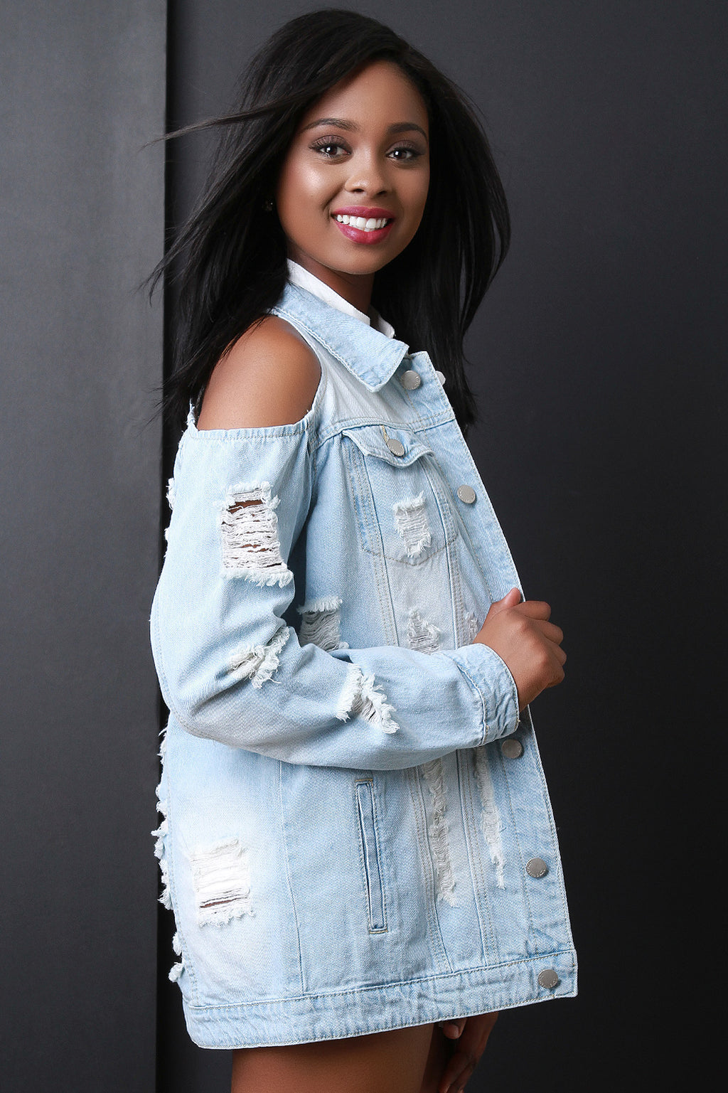 Cold Shoulder Distress Denim Jean Jacket