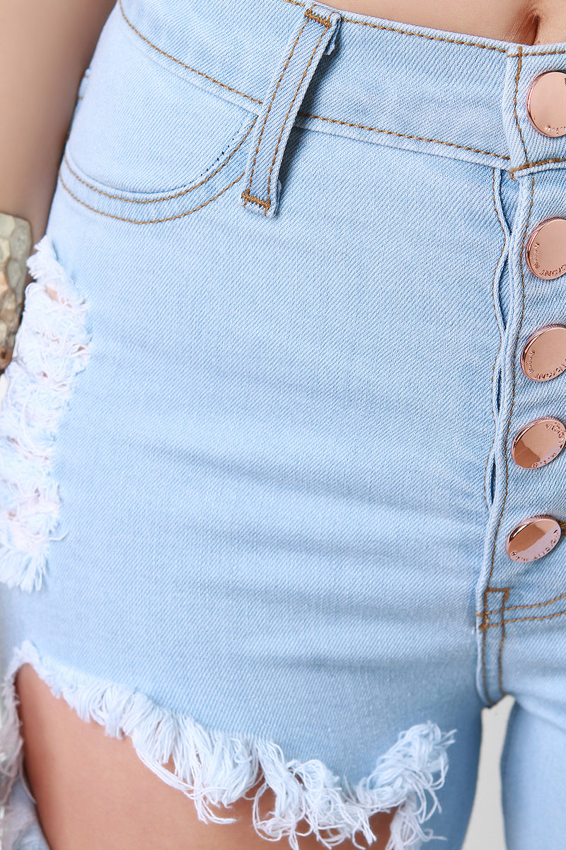 Distressed Five Button High Waisted Bermuda Denim Shorts