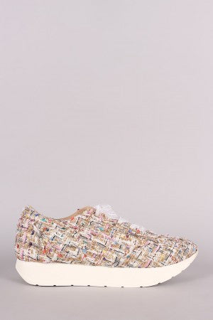 Tweed Chiffon Lace Up Sneaker