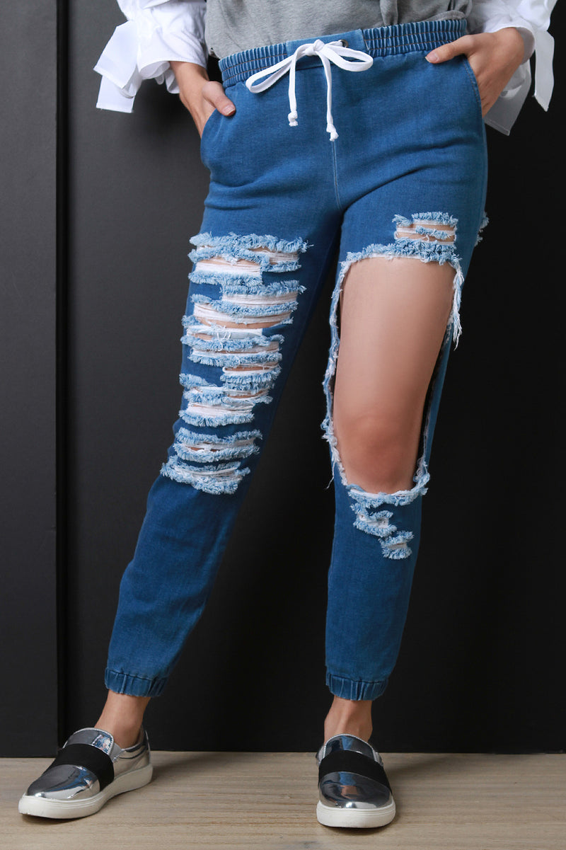 Distressed Chambray Mid Rise Jogger Pants