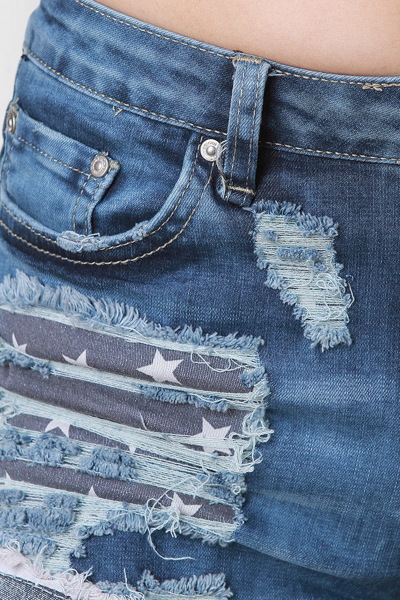 Stars And Stripes Distress Denim Shorts