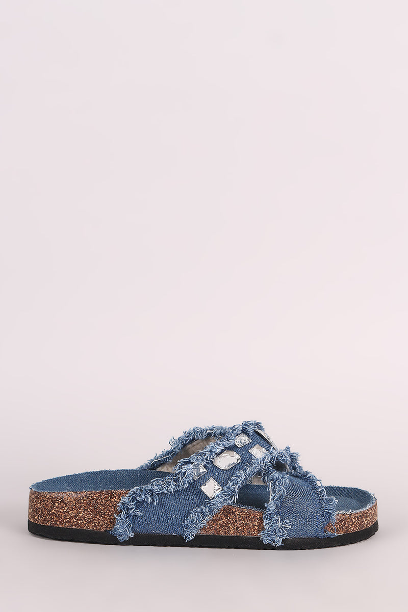 Jewel Embellished Crisscross Frayed Denim Cork Slide Sandal