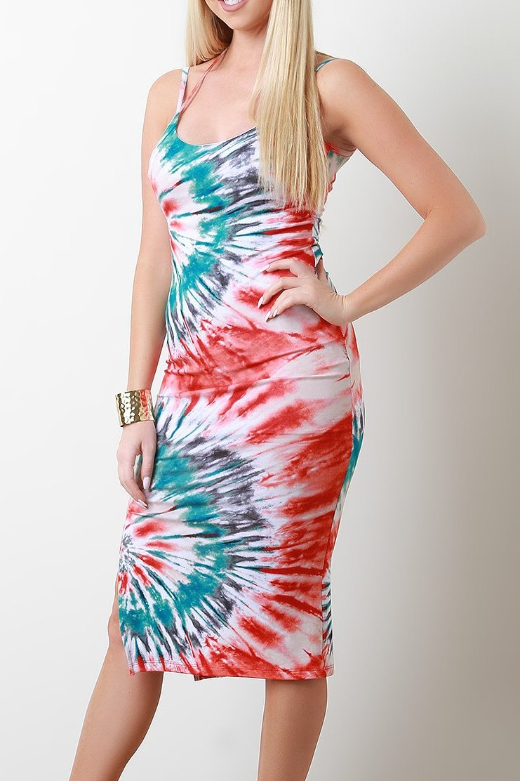 Jersey Knit Tie Dye Strappy Halter Midi Dress