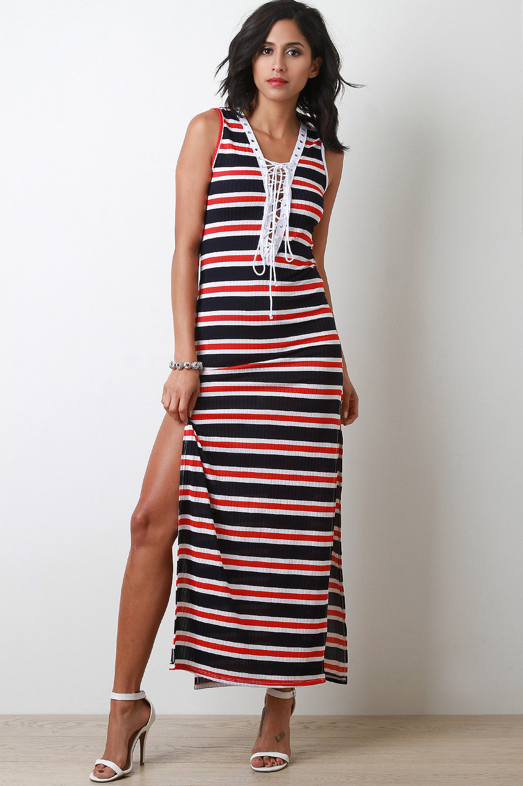 Side Slit Striped Lace-Up Maxi Dress
