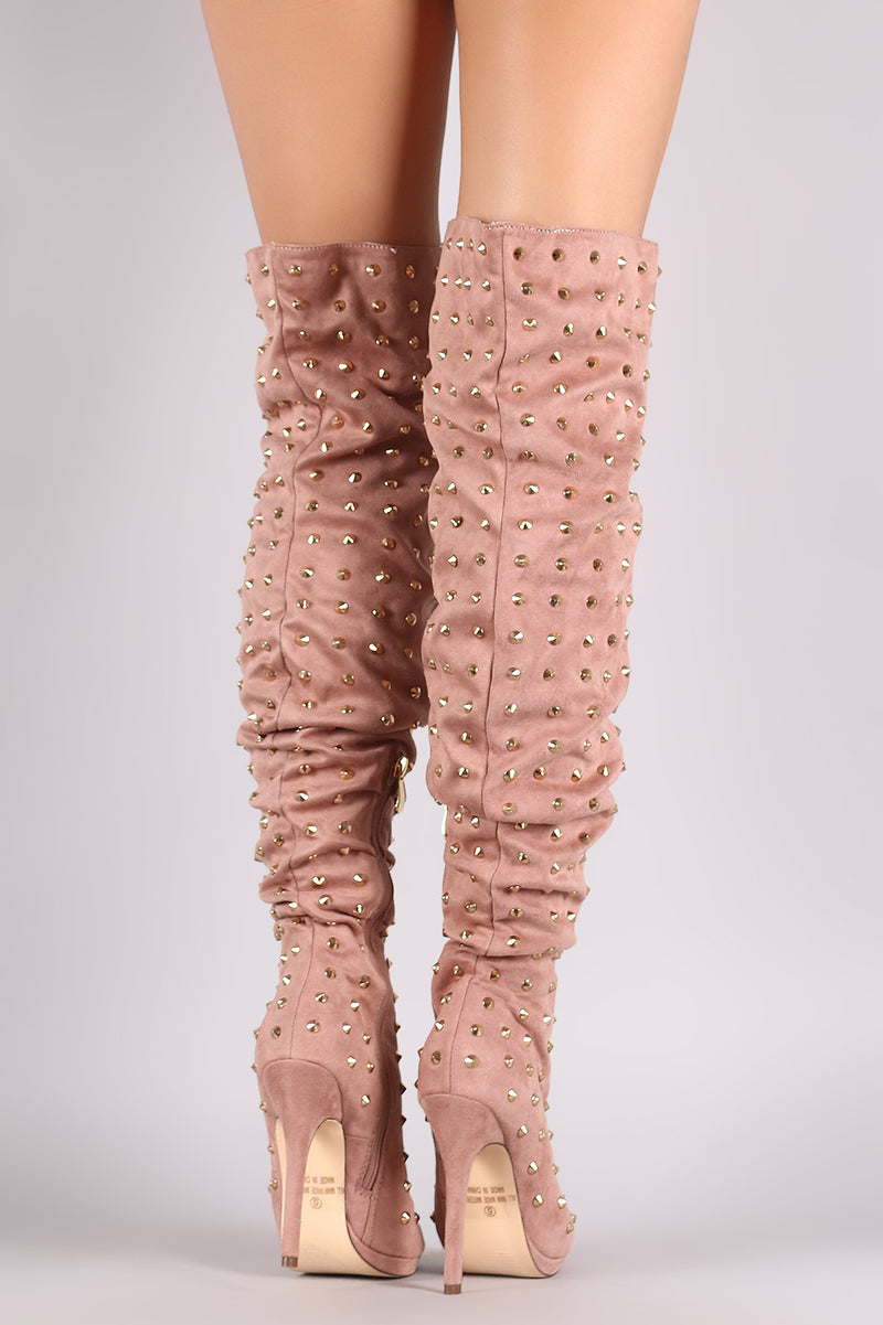 Liliana Studded Spike Suede Slouchy Over-The-Knee Boots