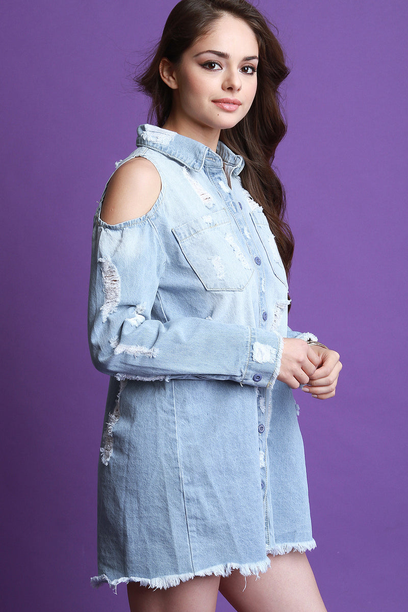 Cold Shoulder Distressed Denim Jean Shirt Dress.