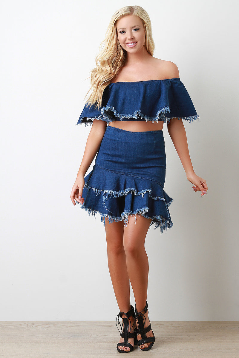Frayed Denim Off The Shoulder Ruffle Crop Top