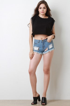 Chain Accent Clear Inset Frayed Distressed Denim Shorts
