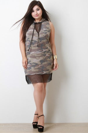 French Terry Camouflage Fishnet Inset Hoodie Dress
