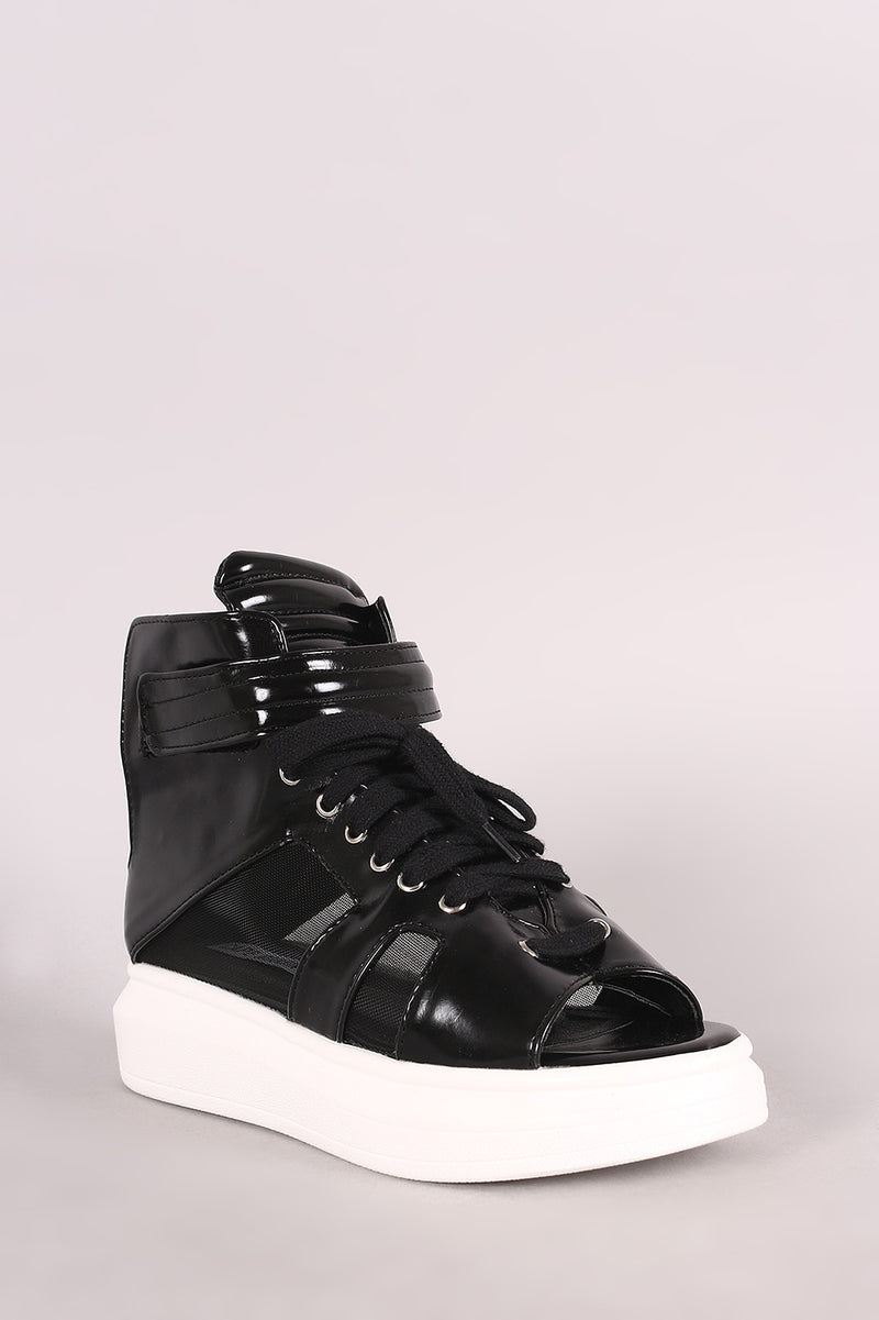 Open Toe Mesh Inset Lace Up High Top Flatform Sneaker