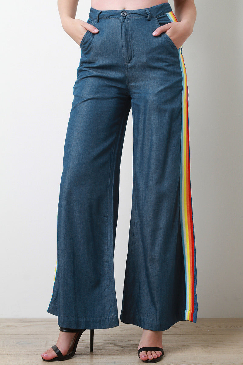 Rainbow Stripe High Waist Wide Leg Chambray Pants