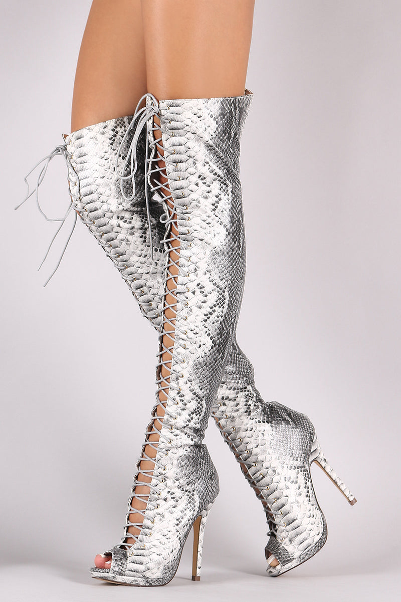Liliana Python Lace Up Stiletto Heeled Over-The-Knee Boots