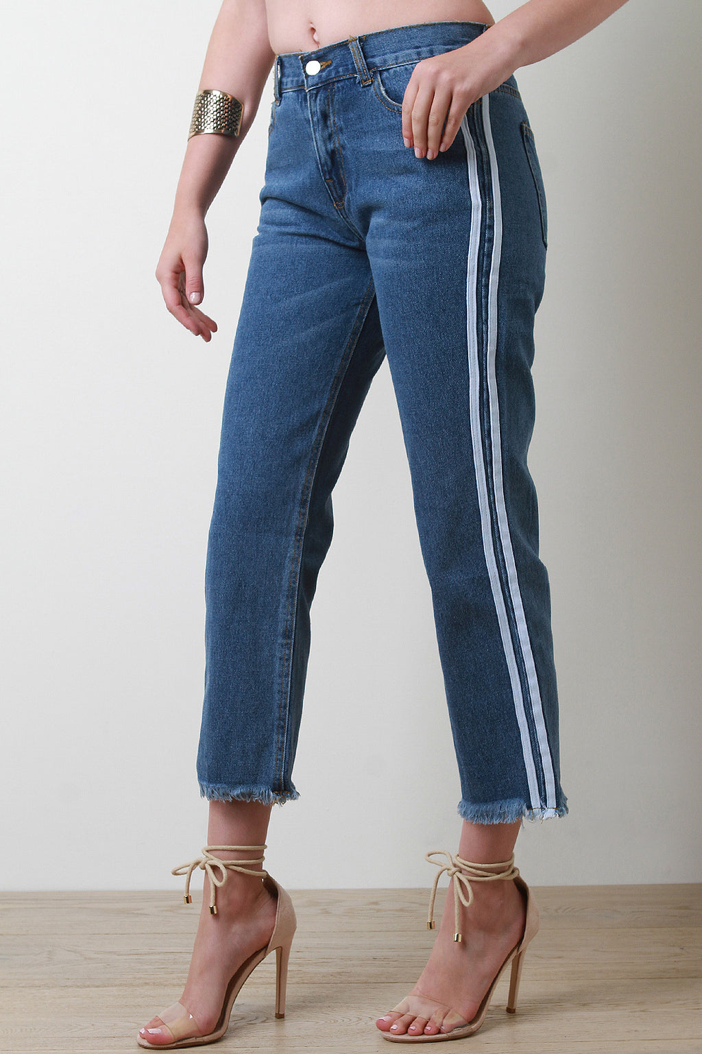 Sporty Stripe Frayed Hem Boyfriend Crop Denim Jeans