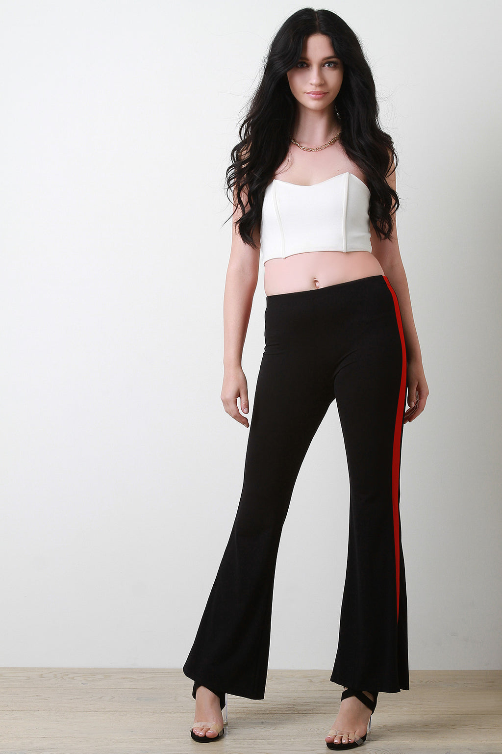 Striped Side High Waist Flared Pants