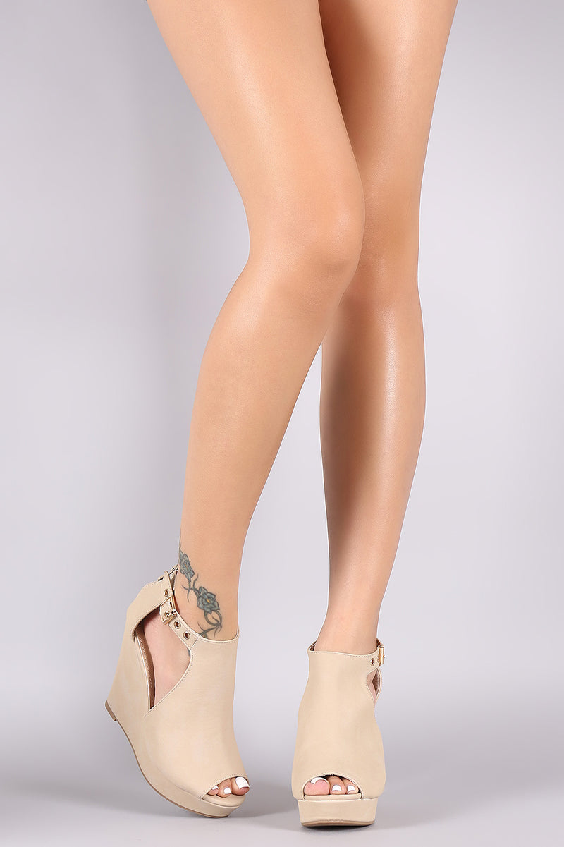Nubuck Cutout Peep Toe Platform Wedge