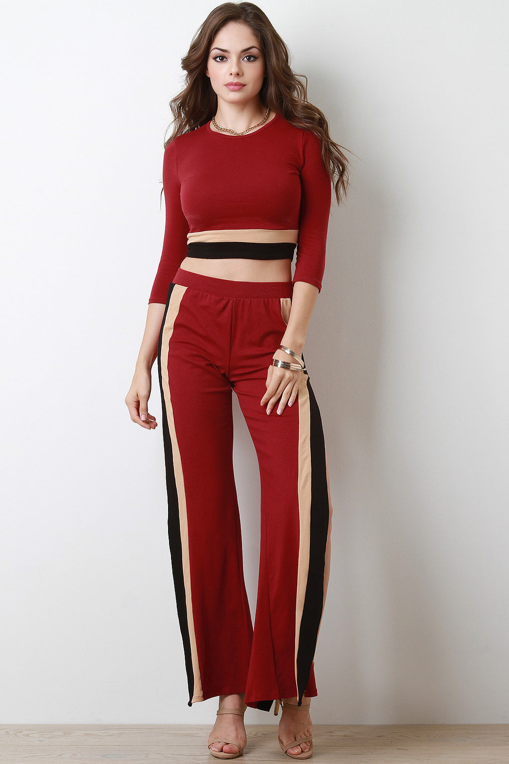 Colorblock Side Slit Flare High Waisted Pants