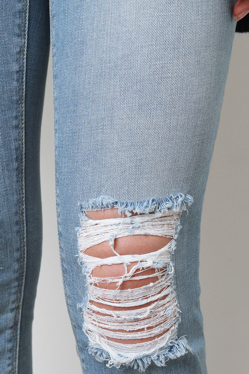 Distressed High Ankle Skinny Denim Jeans