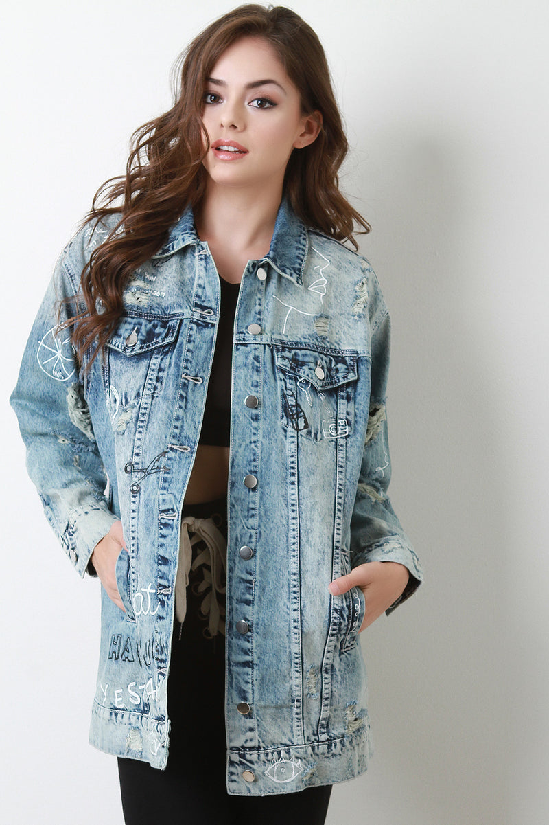 Graphic Distressed Denim Jacket