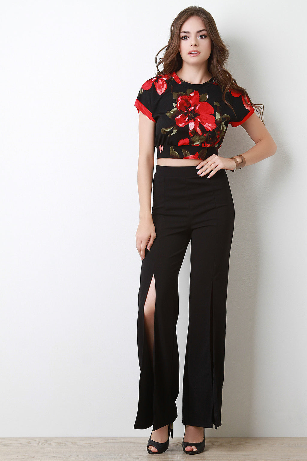 Slit-Front High Waist Pants