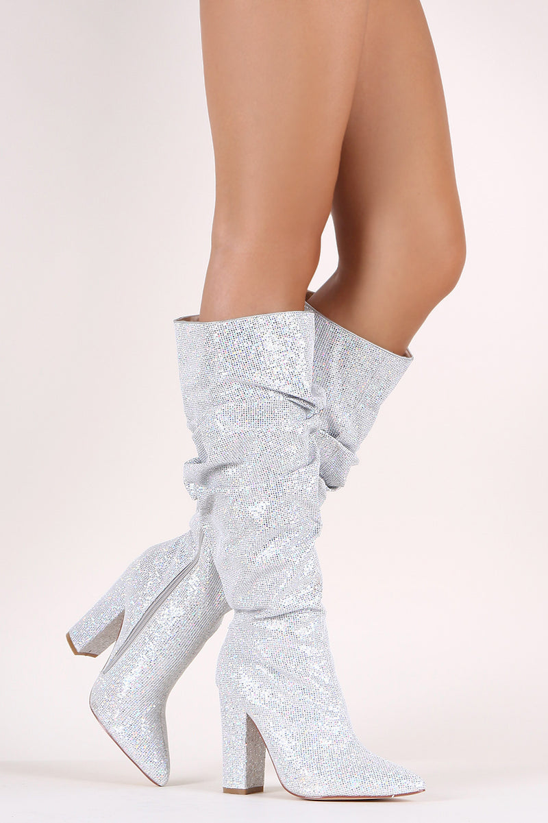 Glitter Pointy Toe Chunky Heeled Ruched Knee High Boots