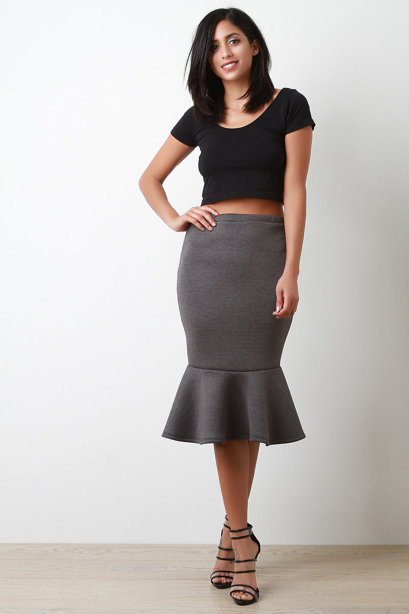 Scuba Knit High Waisted Peplum Hem Skirt