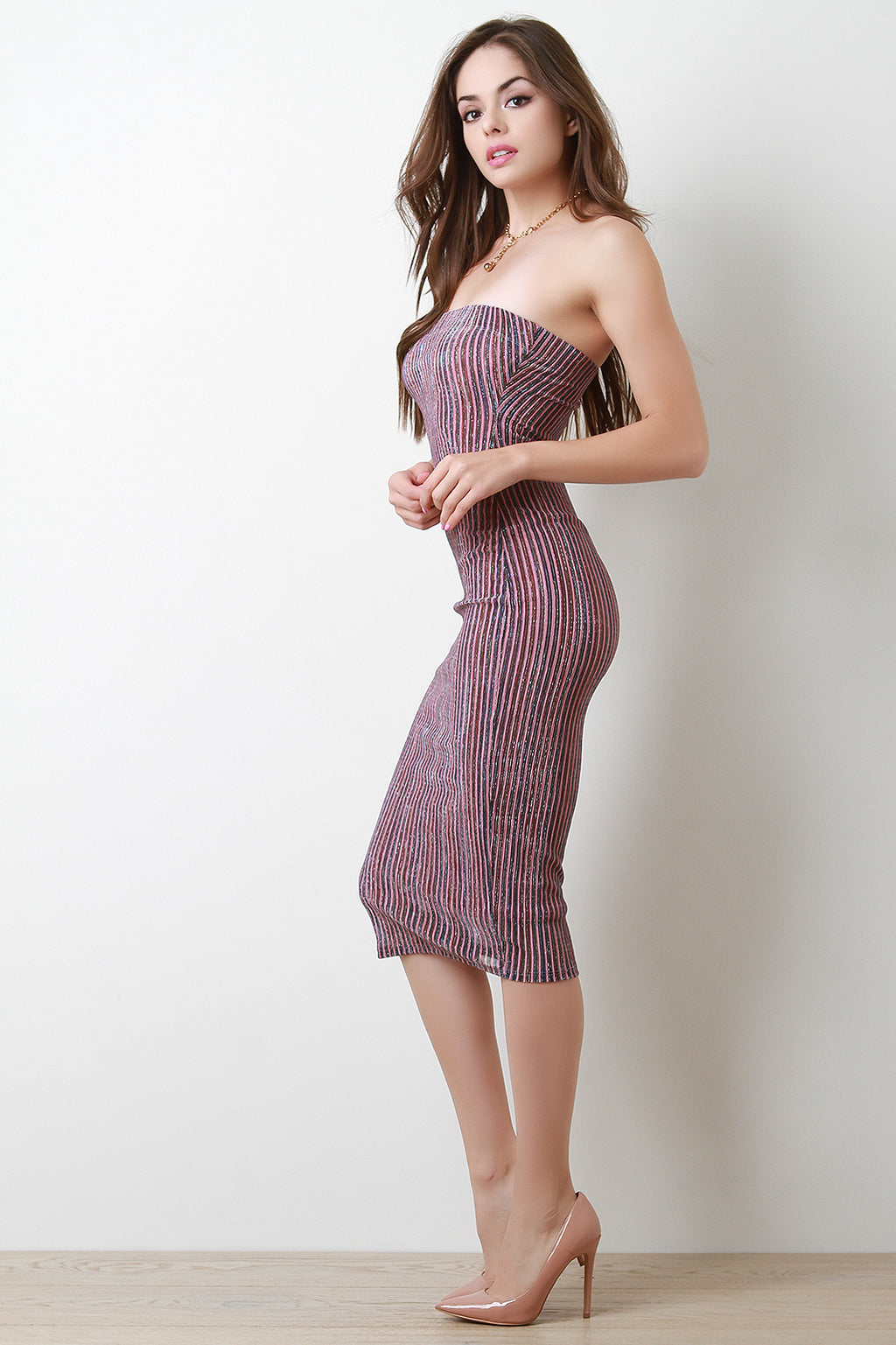 Metallic Accent Striped Tube Dress