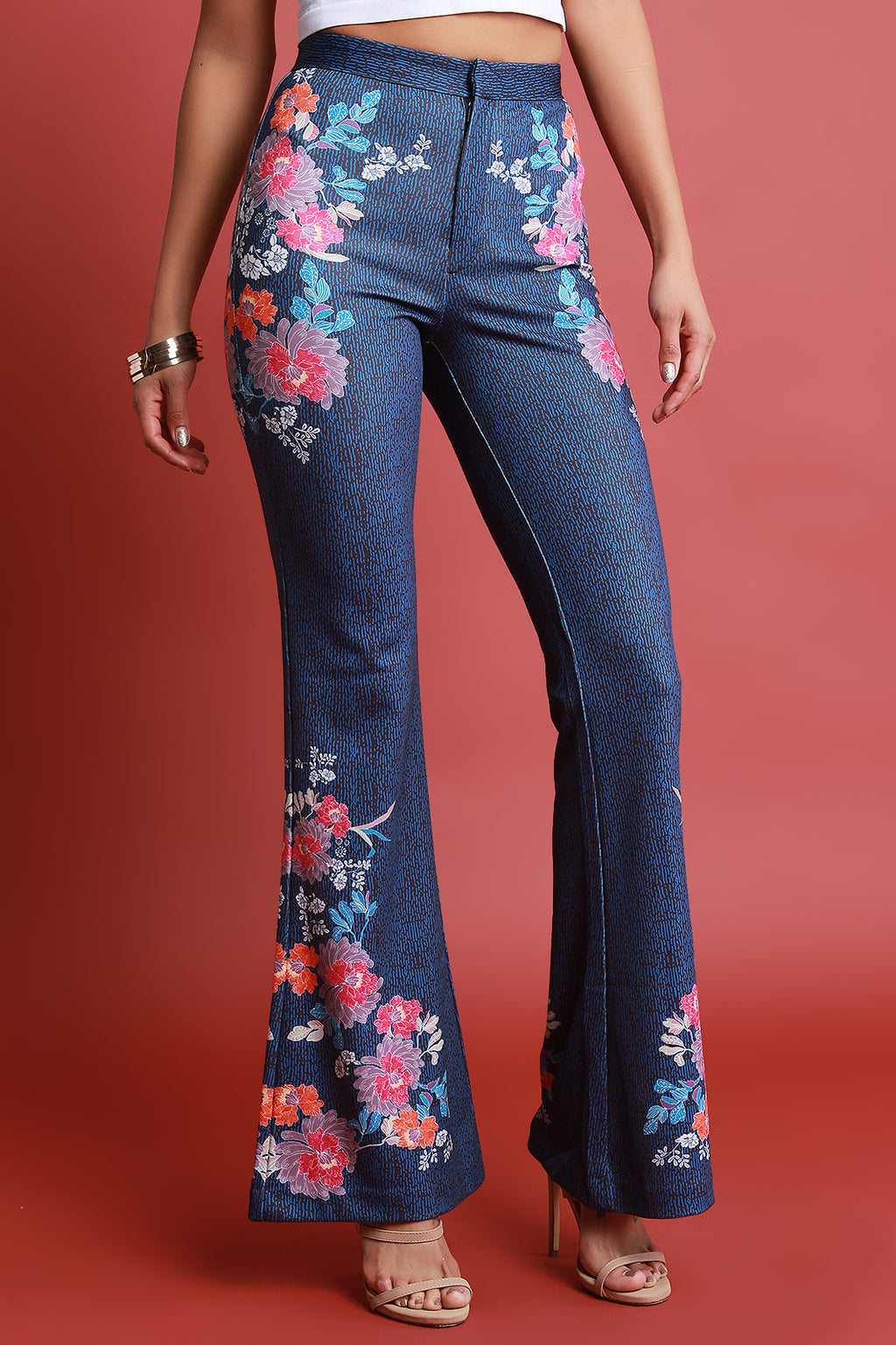 Mixed Floral Print High Rise Bell Bottom Pants