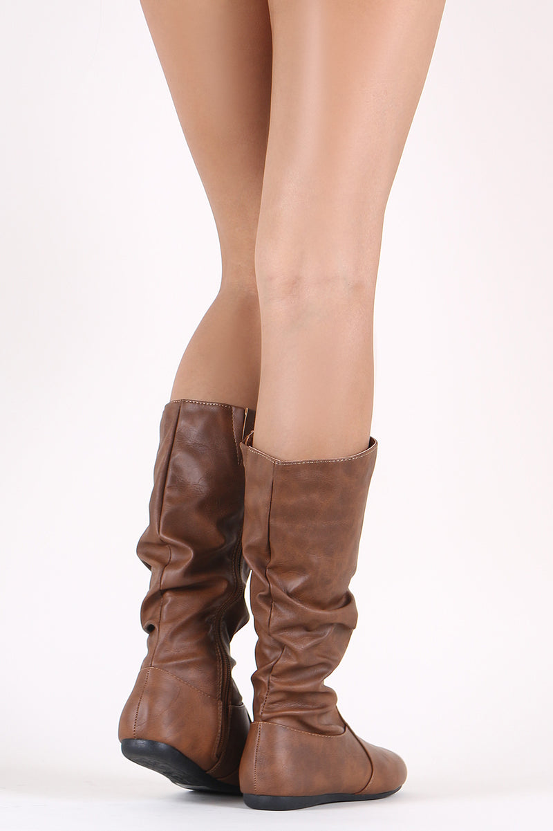 Slouchy Round Toe Mid Calf Flat Boots