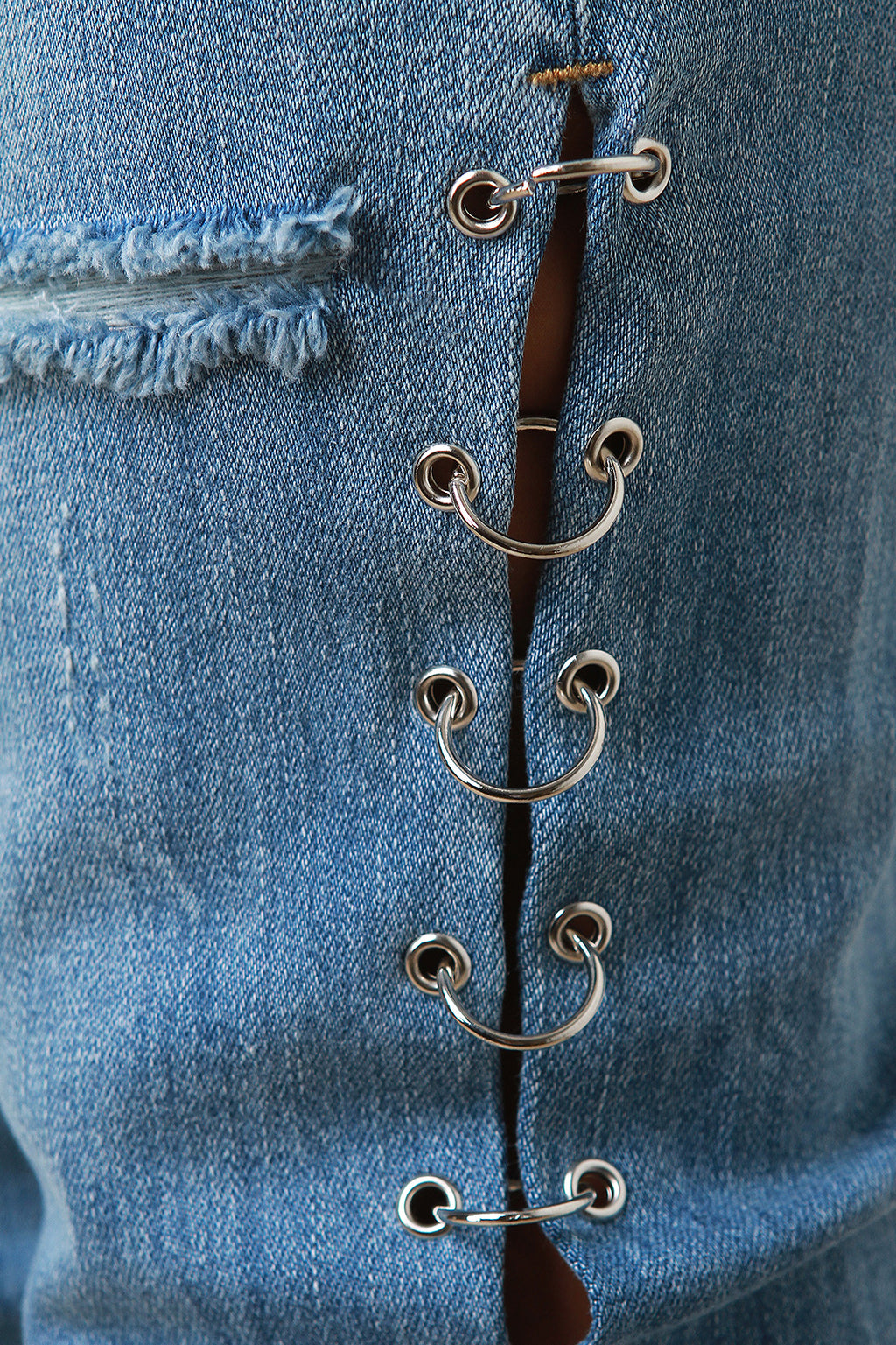Eyelet Rings Distress Hem Denim Jeans