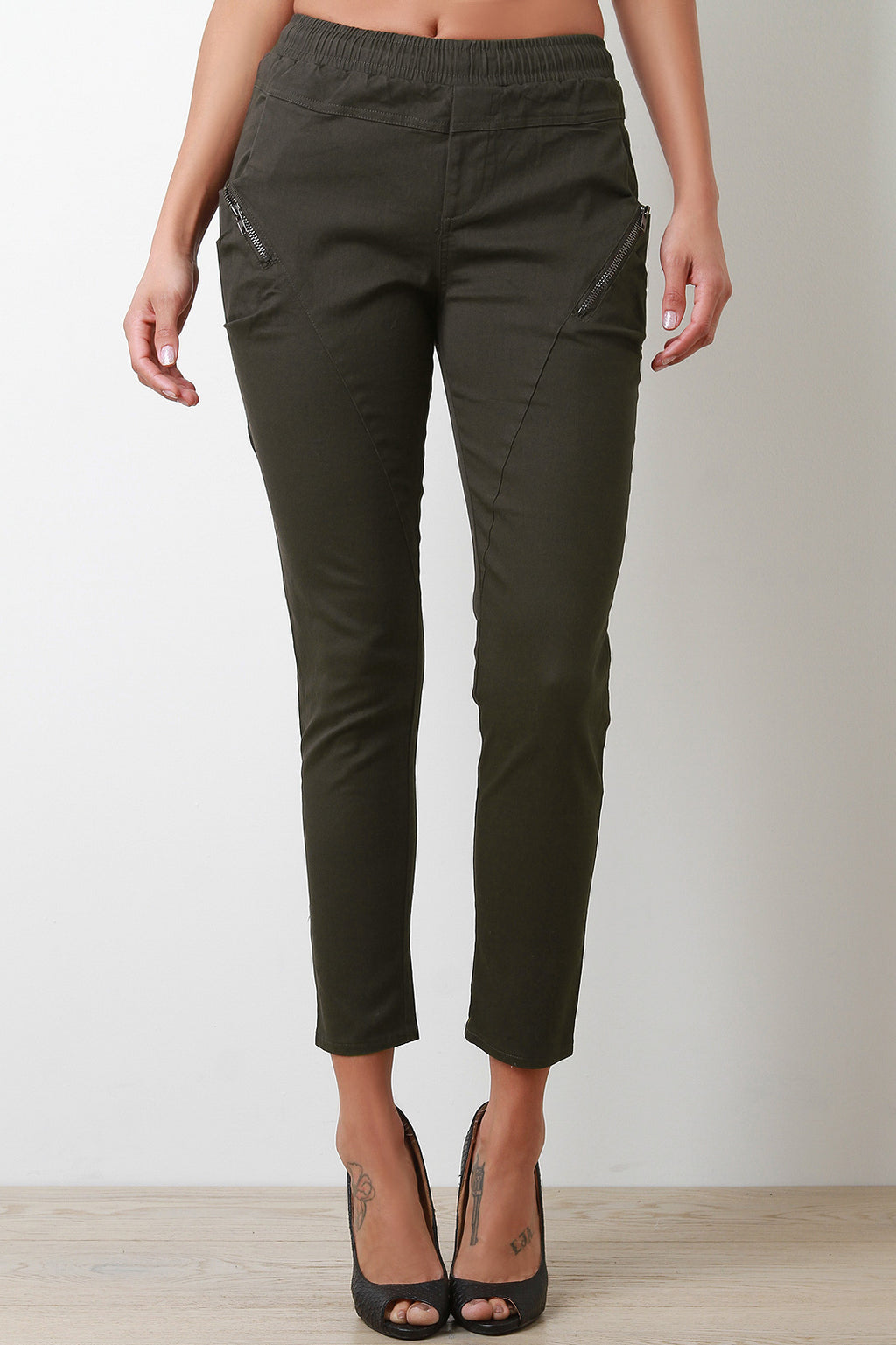 Zipper Trim Mid Rise Skinny Pants