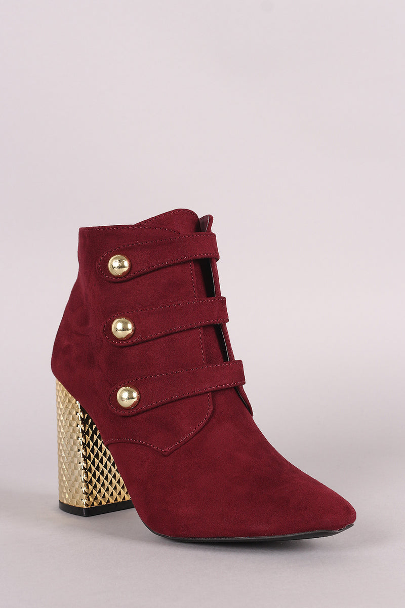 Qupid Suede Triple Straps Textured Chunky Heeled Booties
