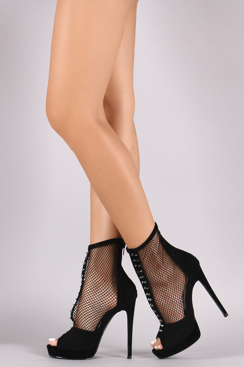 Shoe Republic LA Suede Studded Fishnet Peep Toe Stiletto Platform Booties