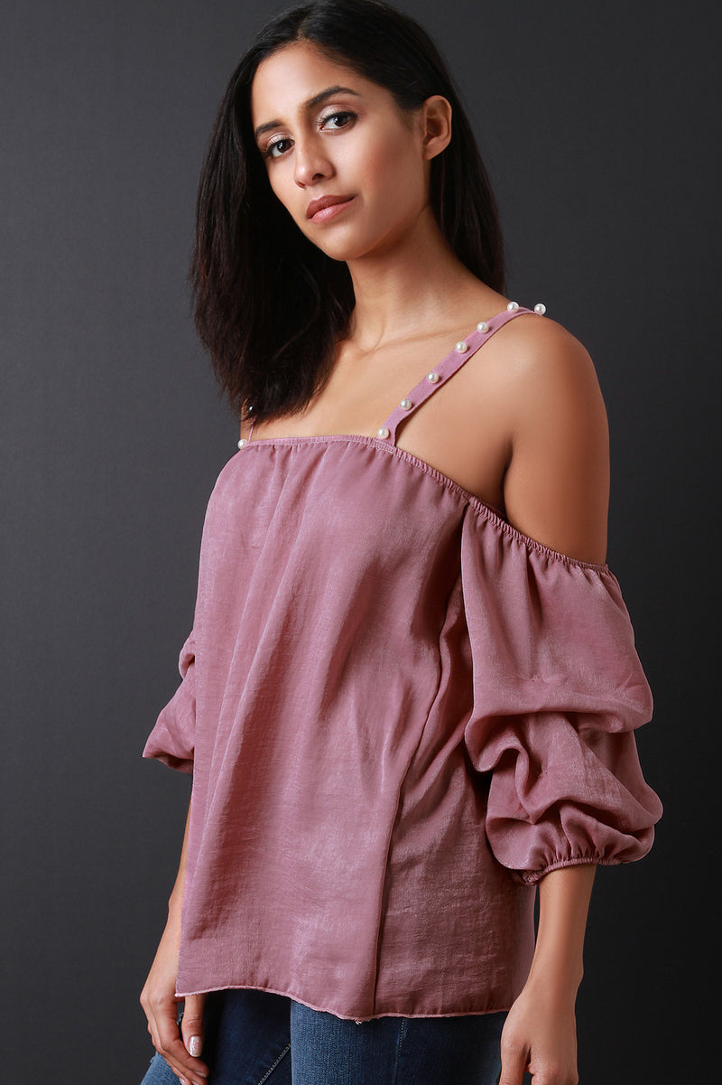 Satin Pearl Straps Ruched Statement Sleeve Top