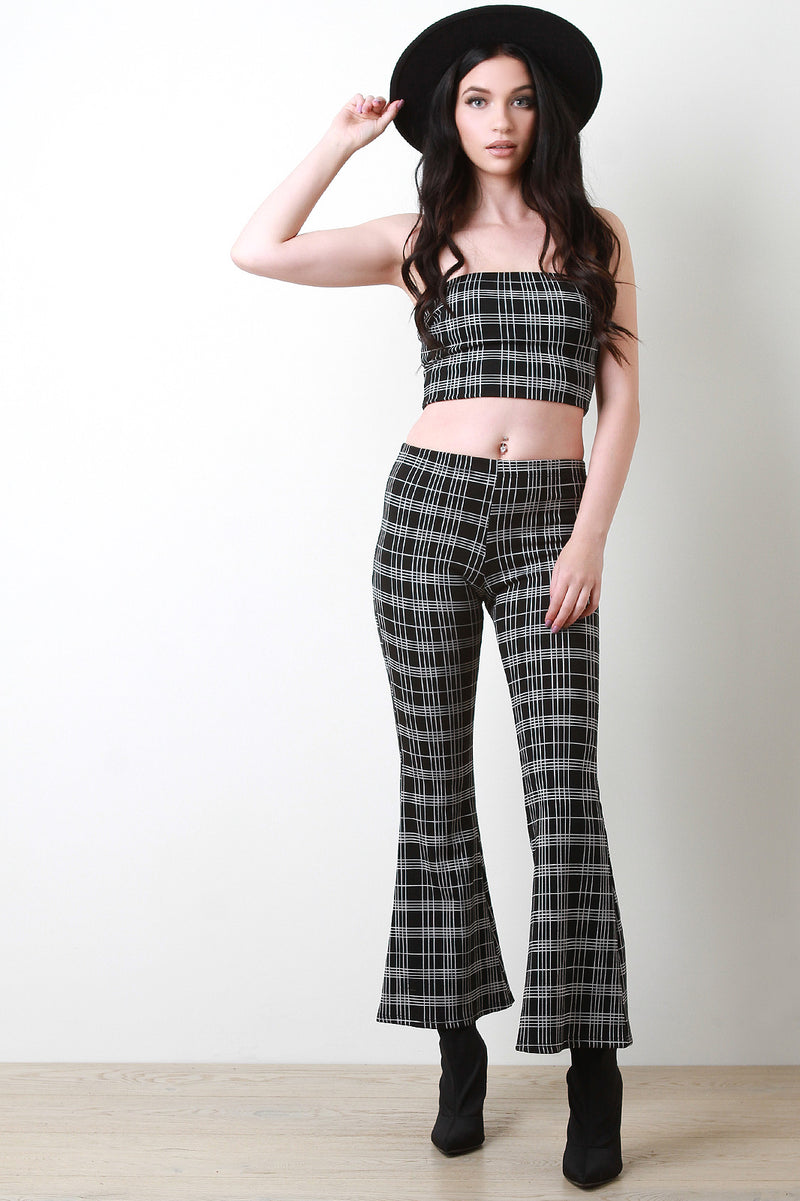 Plaid Tube Top With Flared Pants Set