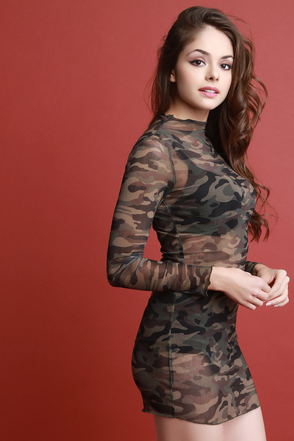 Camouflage Mesh Long Sleeve Mini Dress.